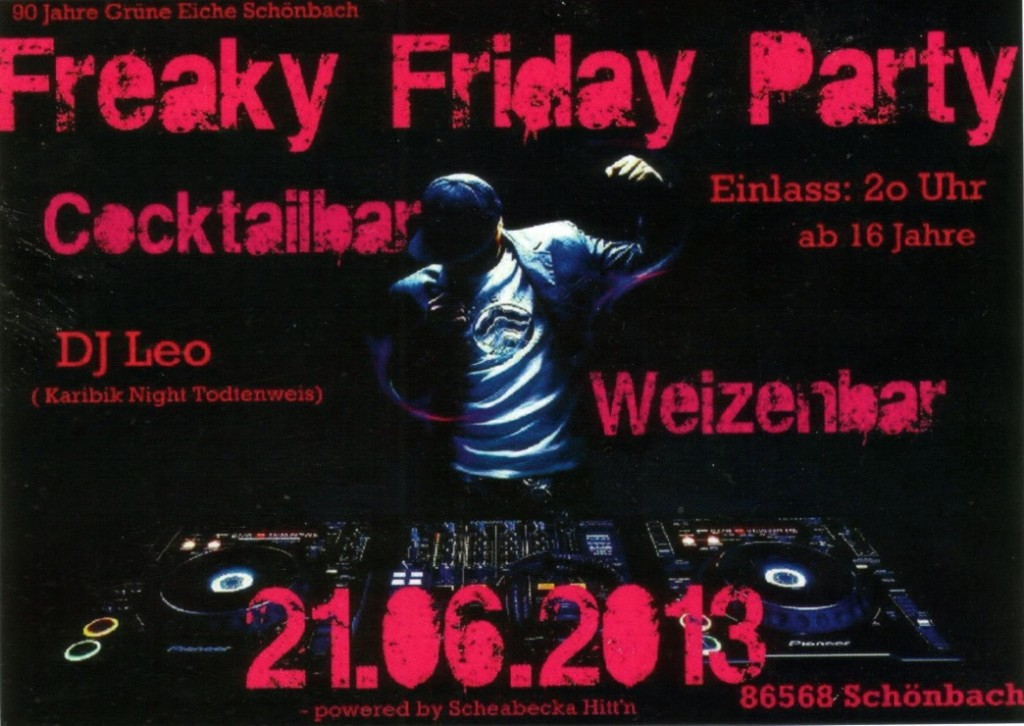 Flyer Freaky Friday Party am 21.06.13